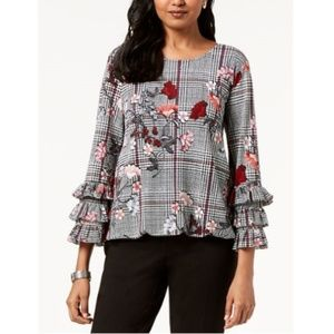 Alfani Women's Printed Ruffle-Sleeve Blouse